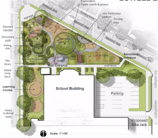 Example of schoolyard plan for landscape architecture