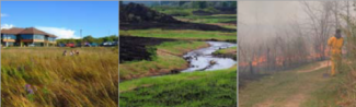 3 images grouped together, prairie, stream, and fire