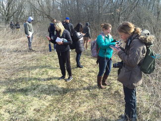 LA 451 class outside working with GPS units