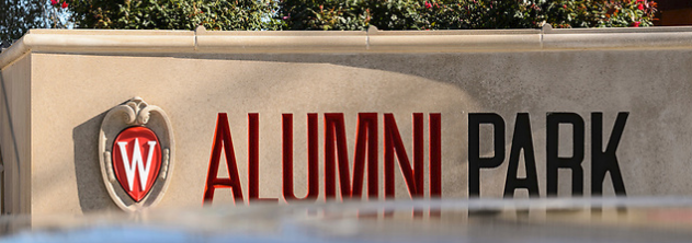 photo of alumni park sign. photo by Jeff Miller